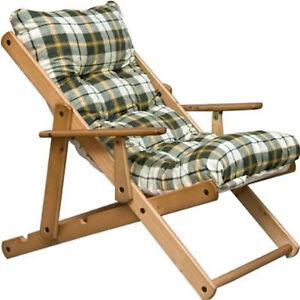 Poltrona relax imbottita sdraio in legno da giardino 3 for Sdraio da giardino
