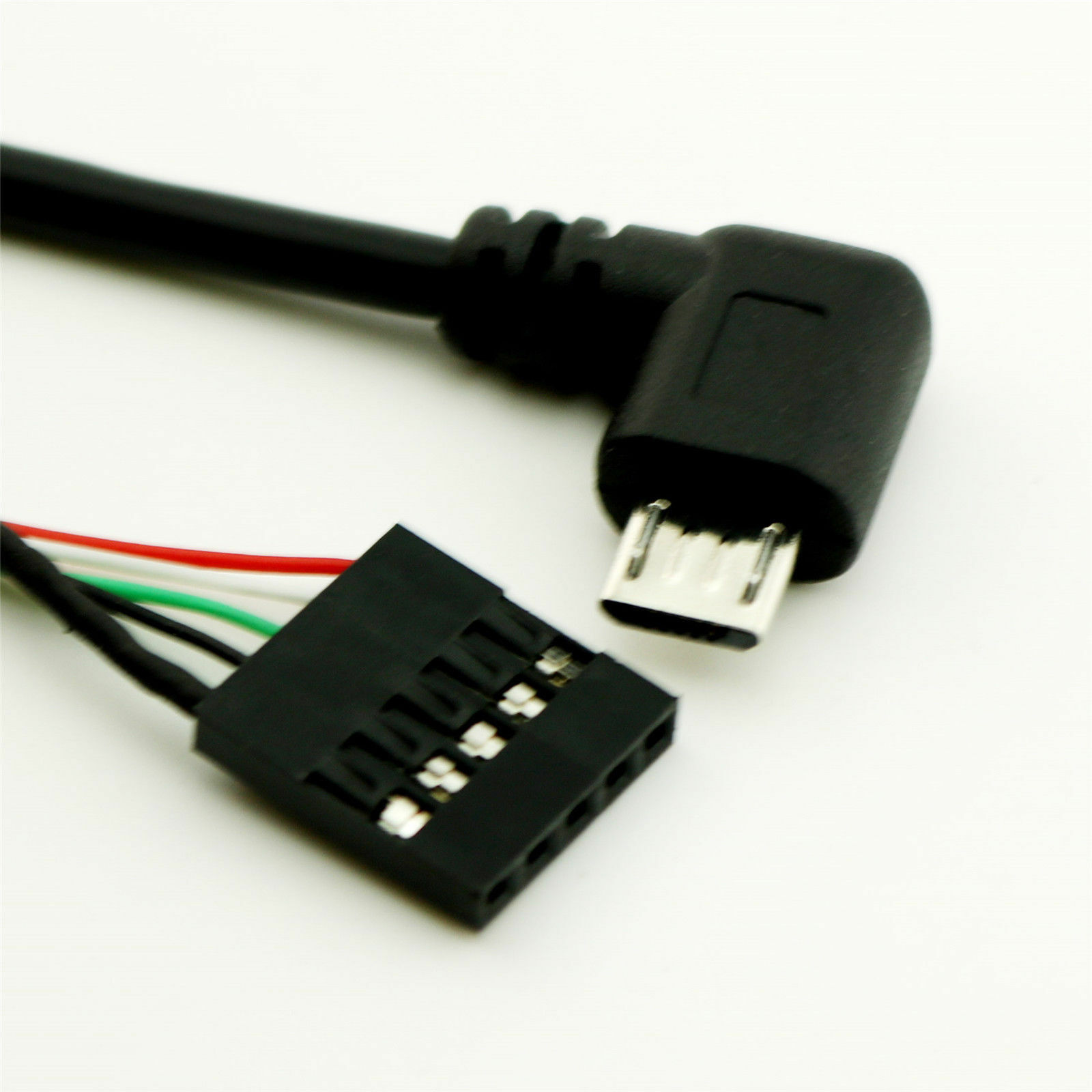Micro USB Male Right//Left Angle to Dupont 5 Pin Female Header Motherboard Cable