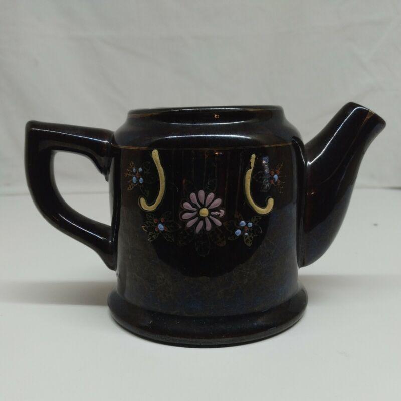 "EUC VTG Japan Redware Brown Blue Iridescent Betty Teapot Ceramic Tea Pot 3.5"""