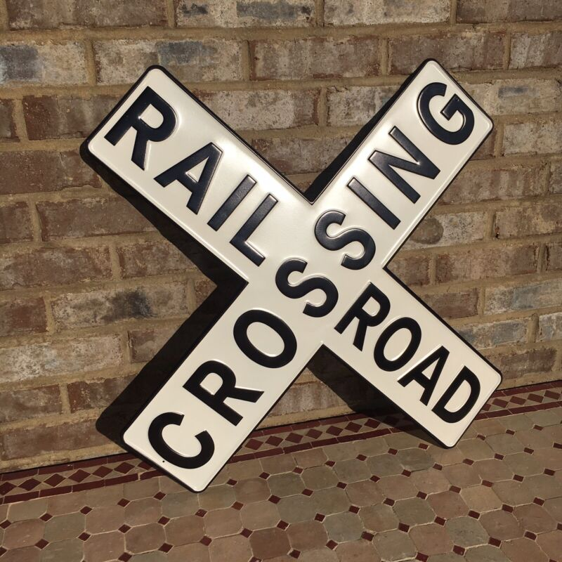 "Railroad Crossing Rail Road RR 23"" Metal Sign Embossed Vintage Train Collector"