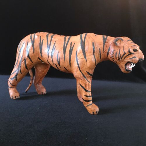 Vintage Leather Wrapped Tiger Figurine Sculpture