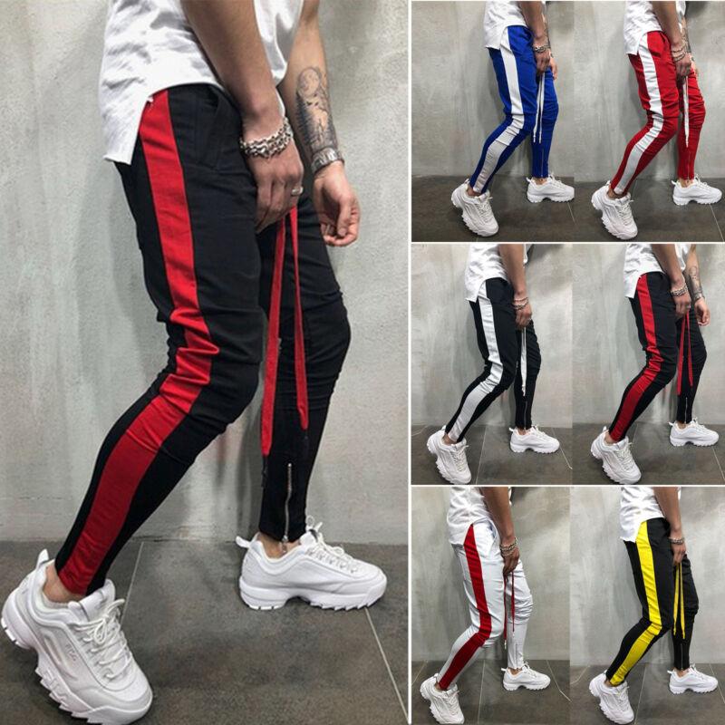 Mens Boy Gym Slim Fit Trousers Tracksuit Bottoms Stripe Jogg
