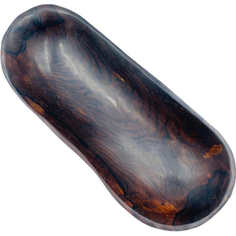 Handcrafted Wooden Bowl Dark Hard Wood Oblong Organic Shape Belize Signed OOAK