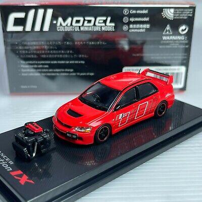 1/64 CM Model Mitsubishi Lancer Evolution IX Red with Engine Diecast