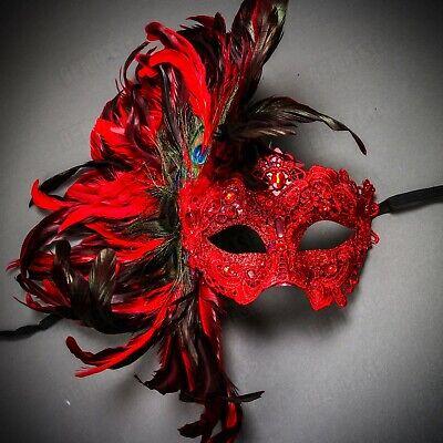 Mardi Gras Venice (Red Venice Carnival Feather Women Mask Masquerade Venetian Mardi Gras)