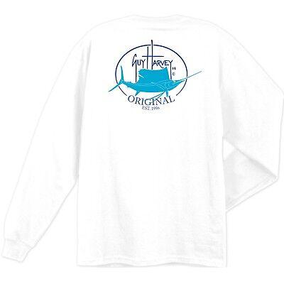 Guy Harvey Original Fin Long Sleeve Fishing Boat T Shirt  Pick Size  S 2X  White