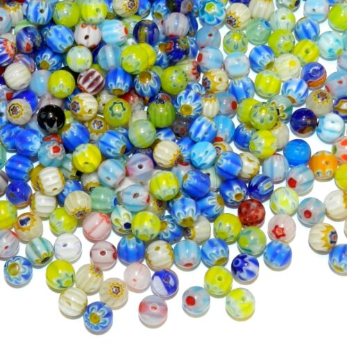 GL3453 Assorted Color Single Flower 6mm Round Millefiori Glass Mixed Beads 100pc