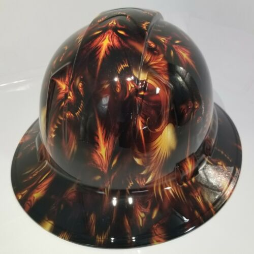 NEW FULL BRIM Hard Hat custom hydro dipped DEMONIC DEMONS FROM HELL NEW SICK 2