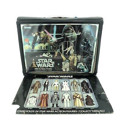 Vintage Star Wars Action Figure Collectors Case Vinyl 2 Trays Original Kenner