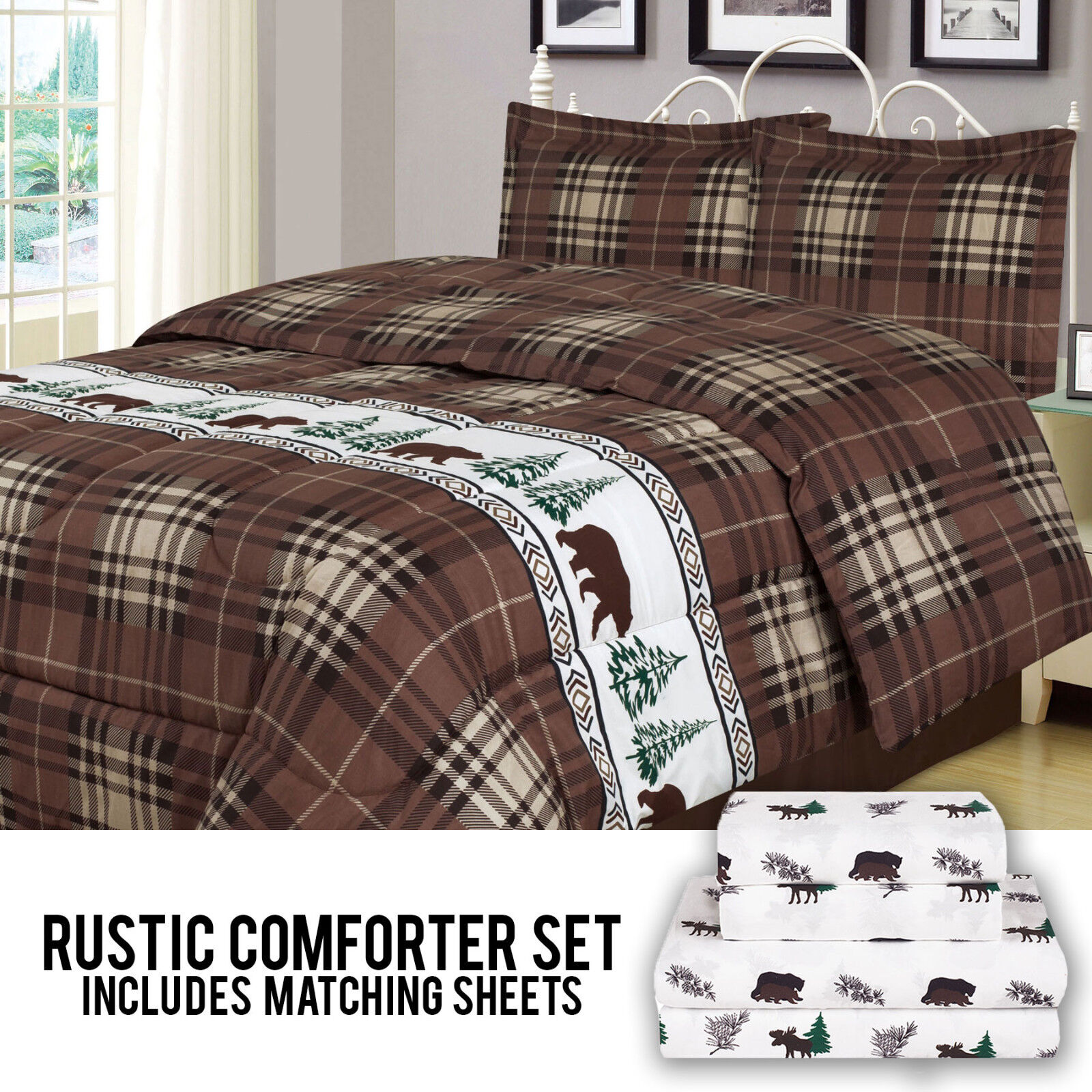 Rustic Bear Comforter Bedding and Sheet Set Cabin Moose Hunting Lodge Bed in Bag Bed-in-a-Bag