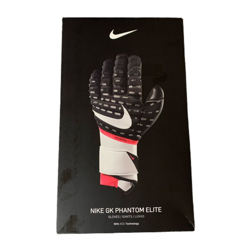 Nike GK Phantom Elite Goalkeeper Goalie Gloves ACC Mens Size 8 Black White Red