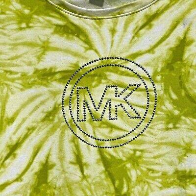 MICHAEL KORS WOMENS T SHIRT LIME GREEN WHITE TIE DYE BLING LOGO S/S STRETCHY~M