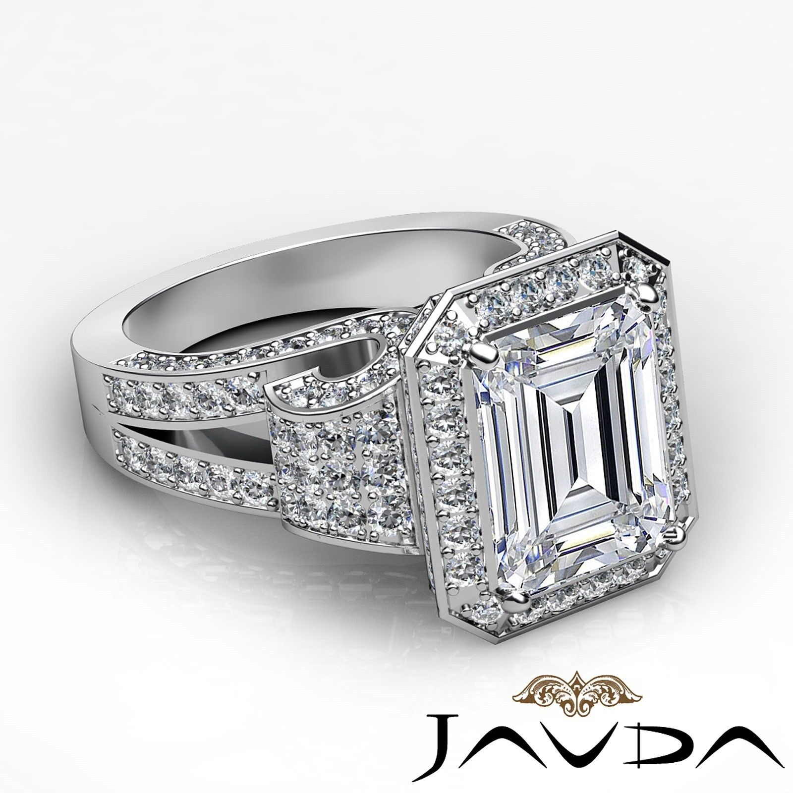 4.4ctw Antique Vintage Halo Emerald Diamond Engagement Ring GIA I-VS1 White Gold 2