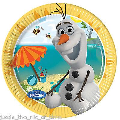 Disney FROZEN OLAF SUMMER 19.5cm Paper Plates Girls Boy Party Supplies Tableware ()