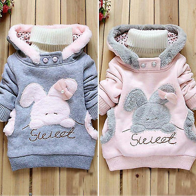 Kinder Baby Mädchen Kapuzenpullover Hoodie Winter Mantel Warm Fleece Jacke Pulli