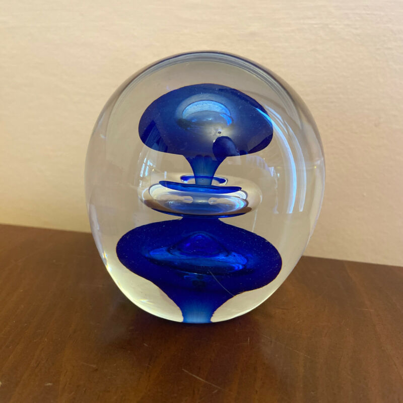 MVas Vitreum Crystal Sweden Vadstena Paper Weight Glass Art Signed And Marked