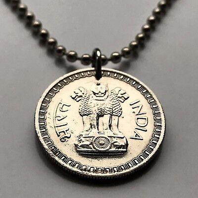 India 50 paise coin pendant Indian pillars of Ashoka lions Mumbai Delhi n001150