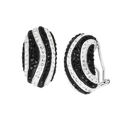 Striped Drop Earrings with Crystals in Rhodium-Plated -