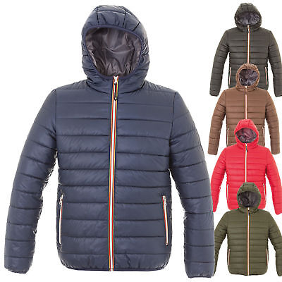 Mens Quilted Jacket Hood Casual Winter Outlet Fashion Motorcycle K-Way