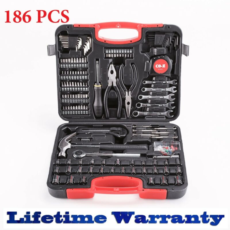 186pcs Tool Set & Case Auto Home Repair Kit SAE Metric LIFET