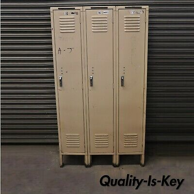 American Vintage Industrial Steel Metal Triple Unit Gym Factory School Locker