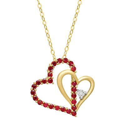 Gold Round Ruby Heart (1/2 ct Created Ruby Double Heart Pendant with Diamond in 14K Gold )