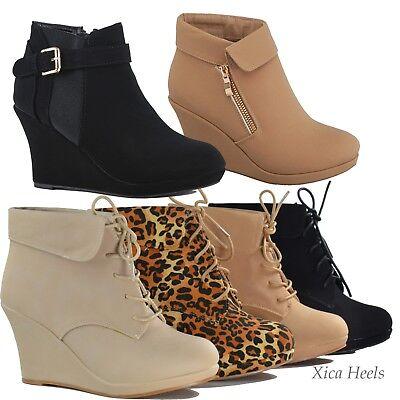 Women's Ankle Boots Wedge Almond Toe Platform Lace Up Fashion Shoes (Lace Up Platform Shoes)