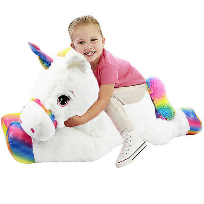 107cm Groß Großes Riese Plüsch Kuscheltier Liegend Weiß Unicorn Pony Teddybär ()