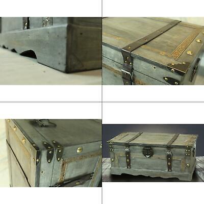 rustic gray large wooden storage trunk | vintiquewise vintage chest organizer ()