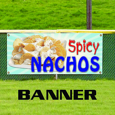 Spicy Nachos Cheese Chips Mexican Food Advertising Vinyl Banner Sign
