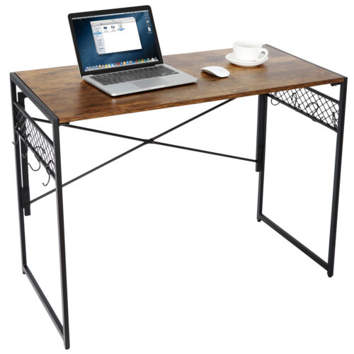 Folding Computer Desk Writing Modern Simple Study Industrial Style with 8 Hooks Furniture