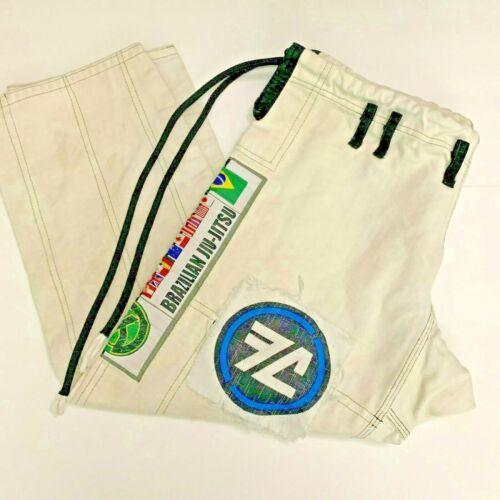 Khronos Fight Gear Brazilian Jiu Jitsu Pants A1 Cotton White Patches Size 36