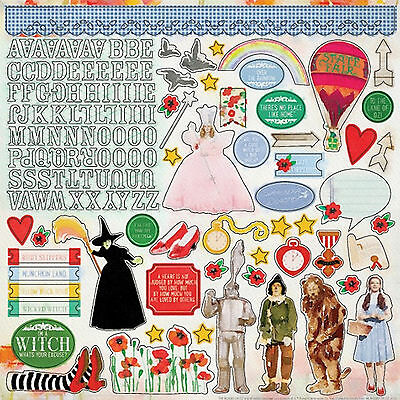 Lion Sticker Sheet (Paper House WIZARD OF OZ 12x12 Cardstock Sticker Sheet DOROTHY WITCH TINMAN)