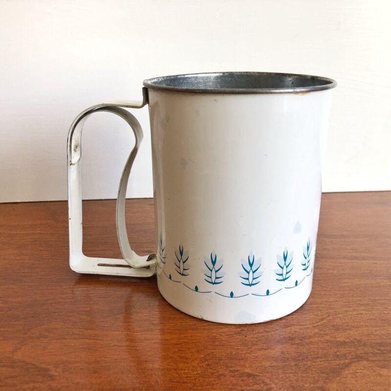 Vintage Androck Metal Flour Sifter White with Blue Flower Trim Farmhouse Decor