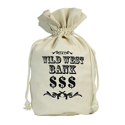 Large Canvas Money Bag Wild West Bank Robber Thief Western Candy Costume - Western Candy Bags