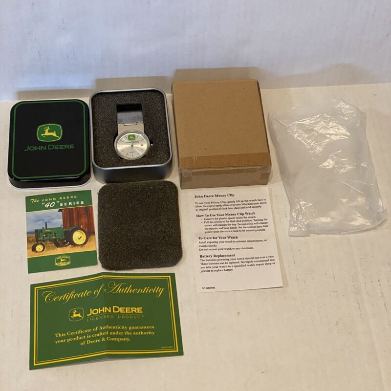 """John Deere """" 40"""" Series Watch and Money Clip MIB New Rare! With COA And Tin"""