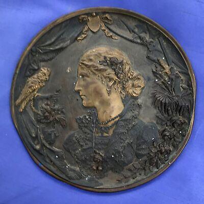 Antique Vintage Victorian Metal Woman w Parrot Drapery Shield Bronze Flue Cover