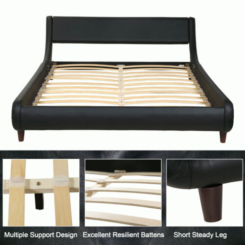 "QUEEN SIZE Bed Frame PU Leather Platform Foundation w/ Wood Slats Headboard 90""L"