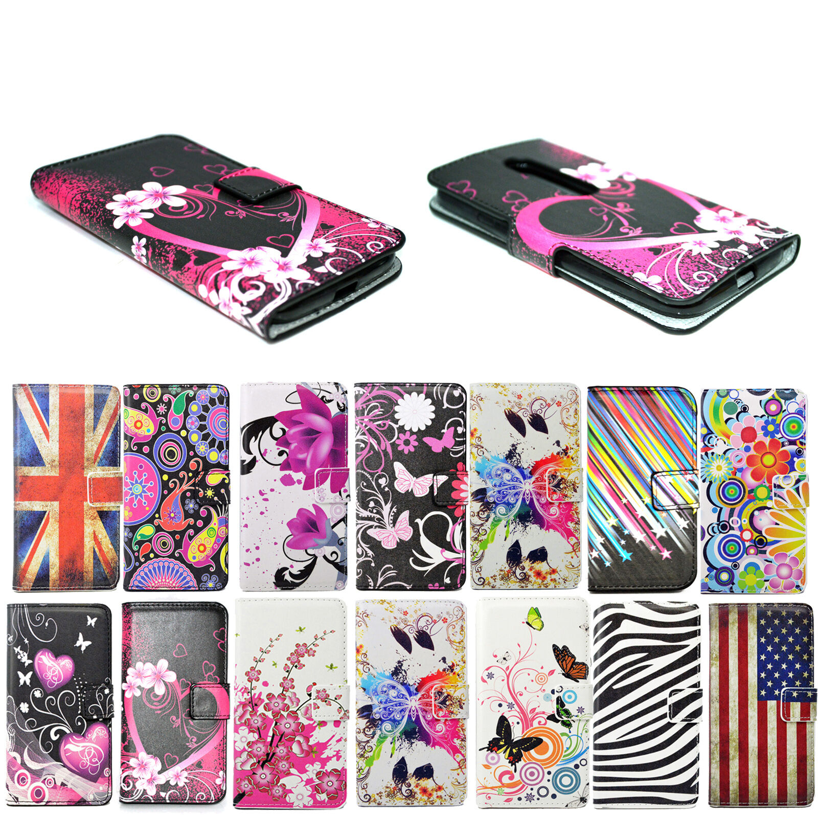 Stand Phone Leather Holster Wallet GEL Cover Case For