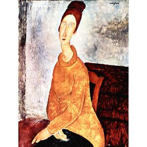 Amedeo Modigliani Portrait Of Jeanne Hebuterne Old Art Painting Canvas Print