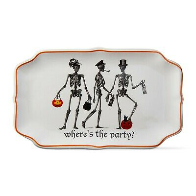 Skeleton Where's The Party? Halloween party platter Ceramic by TAG Halloween Party Ticket