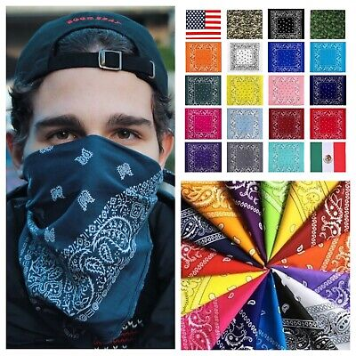 Paisley Bandana Face Mask Head Wrap Army Camo USA Mexico Flag Scarf Neck Cover