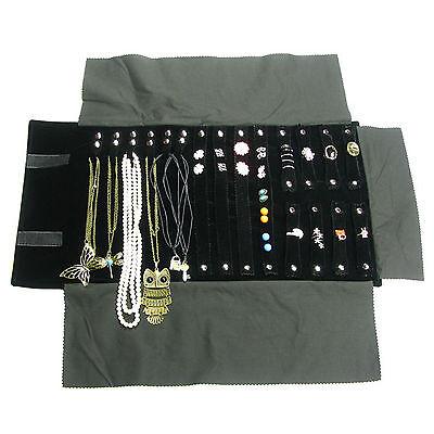 Us Seller Jewelry Organizer Storage Travel Roll Display Black Velvet Pouch Bag