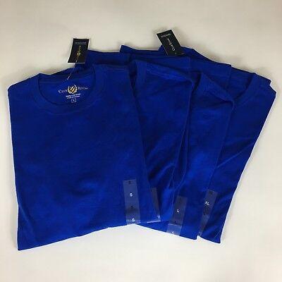 Club Room Mens Blue Cotton Crewneck Short Sleeve Tee Basic (Cotton Short Sleeve Crewneck T-shirt)