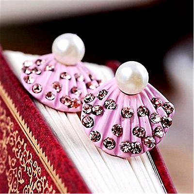 Pink Shell (Cute pink shell stud earrings with crystal and pearl )