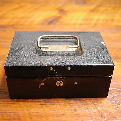 Vintage Durham Manufacturing Black Steel Lock Cash Box No Key