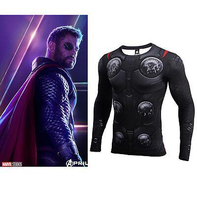 Avengers: Infinity War Thor Tee Long sleeve sport Fitness Male Costume T-shirt  (Thor T Shirt Costume)
