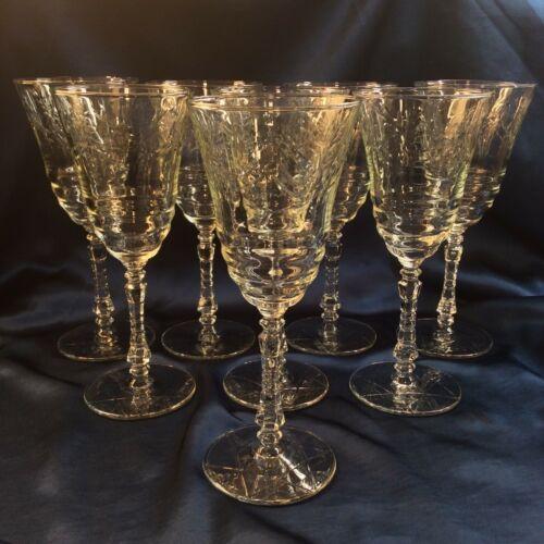 Set 8 Rock Sharpe Artic Rose Cut Crystal Vintage Wine Goblets