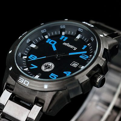 INFANTRY Mens Quartz Analog Wrist Watch Date Army Sport Black Stainless Steel US