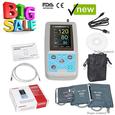 24h Nibp Holter Ambulatory Blood Pressure Monitor Abpm50softwarece Fdausa New